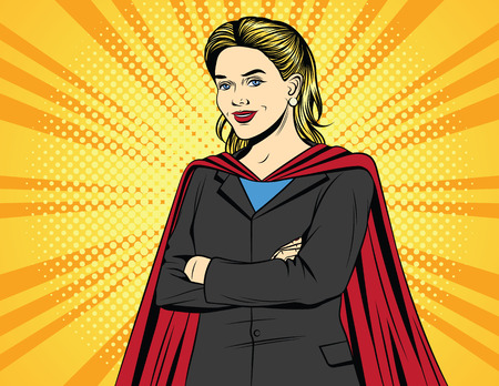 Vector color pop art comic style illustration of a business woman in a super hero costume. Beautiful blonde in an office suit with arms crossed on her chest. Vintage poster of a successful woman