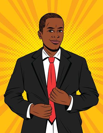 Ilustración de estilo de arte pop de color vectorial de un hombre de negocios en traje. Un guapo afroamericano con chaqueta negra. Gerente de oficina exitoso feliz