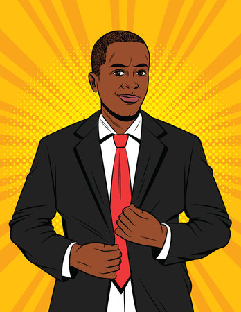 Vector color pop art style illustration of a businessman in suit. A handsome African-American guy in a black jacket. Happy successful Office manager