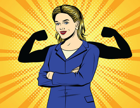 Vector color pop art comic style vintage poster of strong business woman. A woman worker in an office suit with muscles over halftone dot background. Female power. A female boss shows a strength.