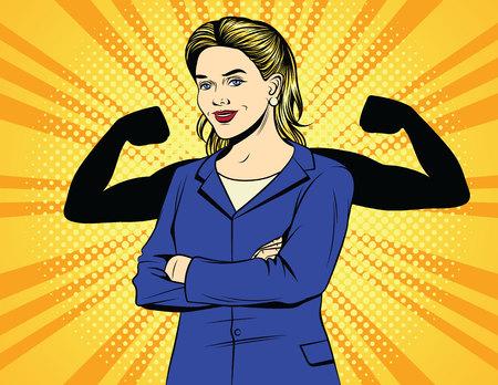 Vektor-Farb-Pop-Art-Comic-Stil Vintage-Poster der starken Geschäftsfrau. Eine Arbeitnehmerin in einem Büroanzug mit Muskeln über Halbtonpunkthintergrund. Weibliche Macht. Eine Chefin zeigt eine Stärke.