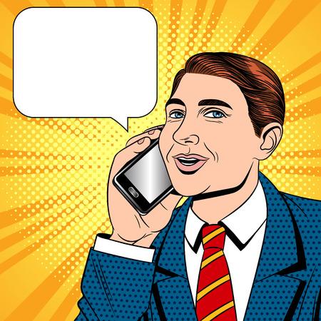 Vectorillustratie kleur popart komische stijl van een jonge man praten op een mobiele telefoon. Zakenman met telefoon in de hand. De verkoper praat op de mobiele telefoon. Een kantoormedewerker praat via de telefoon