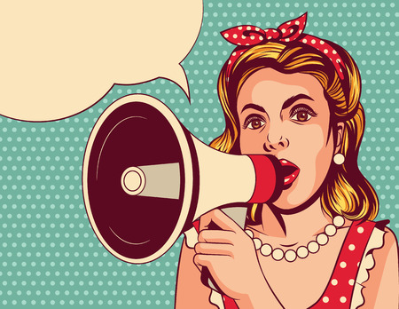 Vector pop art comic style illustration of a beautiful girl with a loudspeaker. The young woman speaks in a megaphone. Vintage poster of a lady in red dress over a blue background with a mouthpiece
