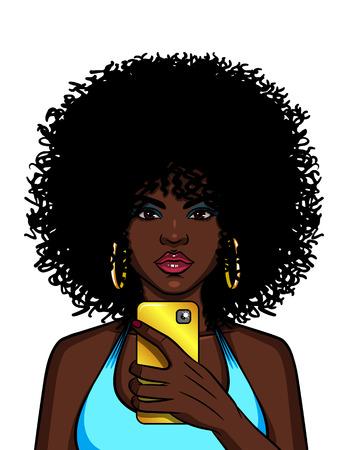 Illustration couleur vectorielle d'une femme afro-américaine faisant selfie. Une fille à la mode se prend en photo au téléphone. La dame glamour faisant une photo à l'aide du téléphone en or