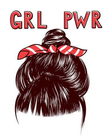 Croquis de vecteur d'un faisceau de cheveux de femme avec l'inscription grl pwr. Éléments de conception pour l'impression sur des T-shirts, des dépliants et des bannières. Vue de dessus d'une tête de femme avec un paquet de cheveux et un bandage