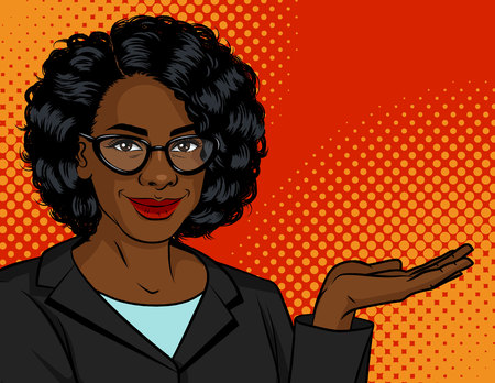 Vector color illustration in pop art style. Dark skin woman in a business suit and glasses shows something. African American successful business woman over dot red background. Lady boss is smiling.
