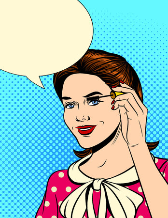 Vector color pop art comic style illustration of a girl doing makeup. Beautiful girl makes eye makeup with mascara. Retro style poster of a girl holding a brush from the carcass in her hand.