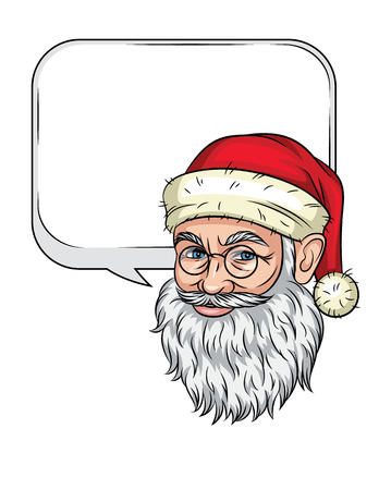 Santa Claus's head. Smiling Santa Claus face isolated from white background. Congratulatory text