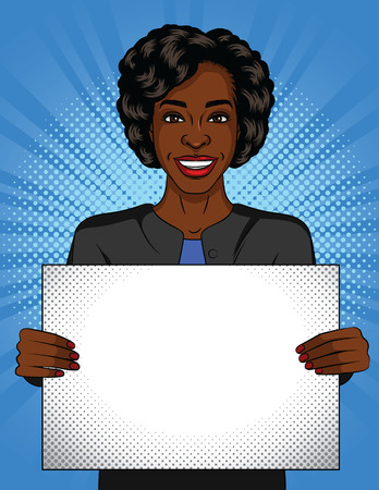 Vector color pop art style illustration of a girl holding a poster. Dark-skinned young woman with a white sheet in her hands. Successful auro american business woman with a poster in front of her.