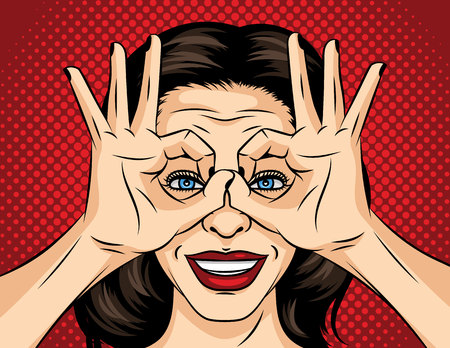 Vector pop art comic style illustration of a young woman face. A girl in search of something. The girl crossed her fingers and looks like through binoculars. Face of a brunette with red lipstick Ilustração