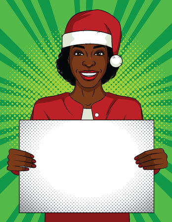 Color vector pop art style illustration. Business woman holding a blank poster. African-American woman wearing a Santa Claus hat on her head with a white sheet in her hands. Office party celebration.