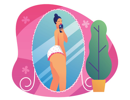 Color vector illustration of a pompous girl making selfie. Concept poster about body positive. Plus size girl takes pictures of herself in the mirror. Curvy girl posing in lingerie Illustration