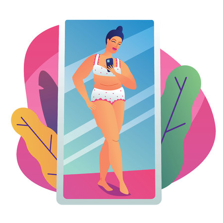 Color vector illustration of a plump girl taking a selfie. Modern poster about body positive. Plus size girl relieves herself in the mirror. The reflection of the girl in underwear in the mirror