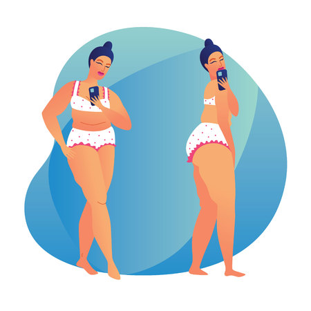 Color vector illustration of a plump girl taking a selfie. Modern poster about body positive. Plus size girl making a photo herself in the mirror. Girl in underwear posing with smartphone Illustration