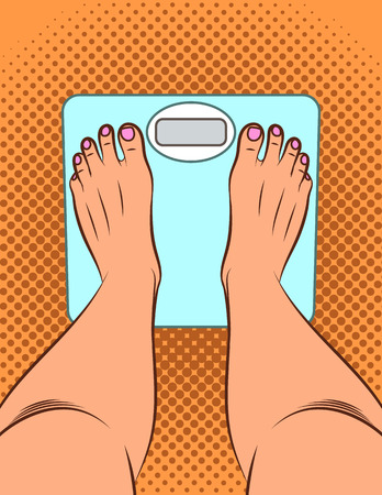 Color vector illustration in pop art style. The girl stands on the scales. A girl measures her weight. Female legs top view. Electronic scales on the floor