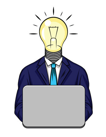 Color vector illustration of business idea. Conceptual design of a man in a suit with a light bulb instead of a head. Business idea, strategy, finance, inspiration. Glowing light as a sign of success
