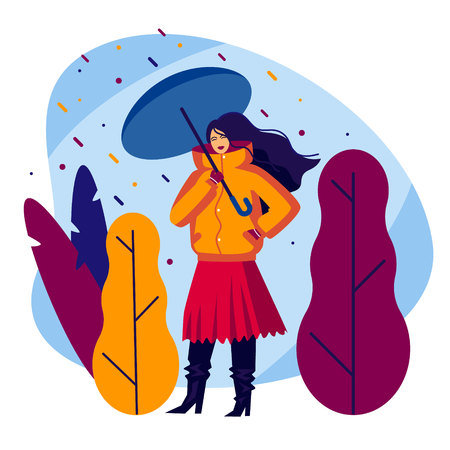 Color vector illustration of a girl with an umbrella. Flat style poster. Fashionable girl walks in the rain. Girl in warm clothes on a background of autumn nature. Stylish dressed girl among the trees Illustration