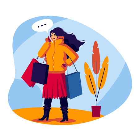 Vector color flat style illustration. Shopping girl talking on the phone. Fashionable young woman comes with bags in her hands. The girl in the mall talking on the phone and makes purchases