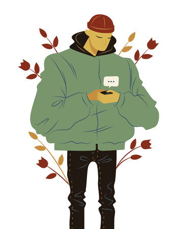 Color vector illustration flat style. Stylish guy communicates online using a mobile phone. Fashionable modern guy is chatting in the phone. A teenager outside writes SMS.
