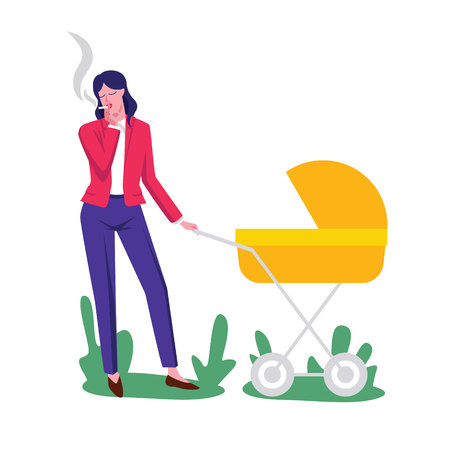 Color vector flat style illustration. Young mother walks with a stroller. Woman with a child smokes a cigarette. Conceptual poster about the dangers of passive smoking. Smoking mother with a baby