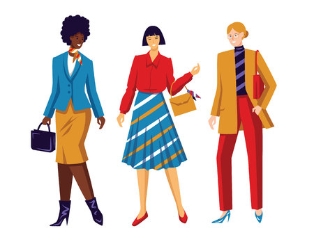 Color vector flat style illustration. Womens team. Conceptual poster about female power and equal rights. Working girls of different nationalities. A group of girls of different races isolated