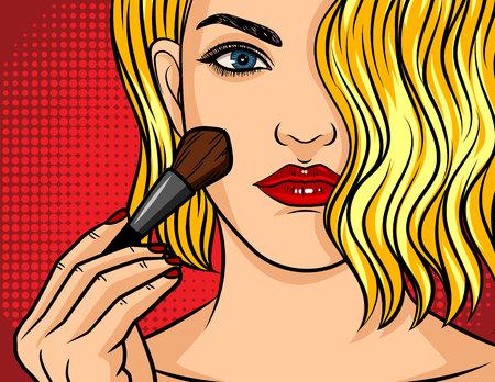 Farbe-Vektor-Pop-Art-Comic-Stil-Illustration. Mädchen mit rotem Lippenstift auf rotem gepunktetem Hintergrund. Schöne junge Frau, die Make-up selbst anwendet. Blondes Mädchen, das eine Bürste für Make-up in der Hand hält. Vektorgrafik