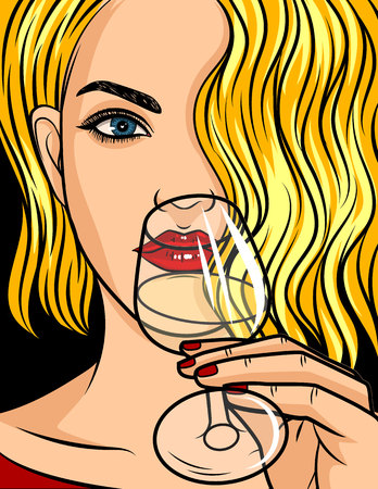 Color vector pop art comic style illustration. Blonde girl with red lipstick and wavy hair. Beautiful young woman is drinking an alcohol. Lady holding a glass of wine or champagne in her hand.