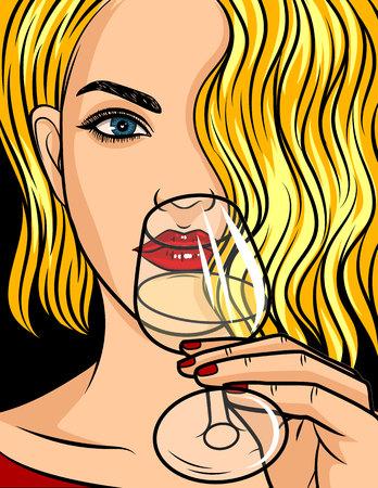Farbe-Vektor-Pop-Art-Comic-Stil-Illustration. Blondes Mädchen mit rotem Lippenstift und welligem Haar. Schöne junge Frau trinkt einen Alkohol. Dame mit einem Glas Wein oder Champagner in der Hand.