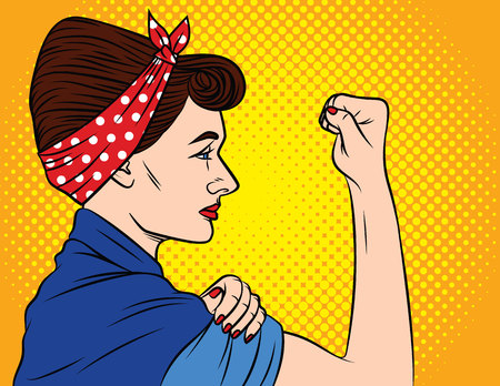Colorful vector poster in the style of pop art about womens rights. Female feminism, female power. A girl with a bandage on her head keeps showing fist. Young woman shows protest Иллюстрация