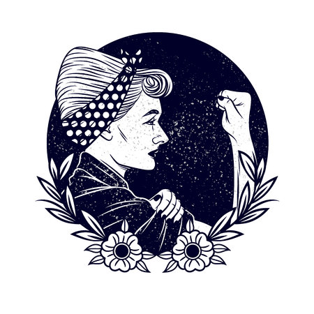 Black and white vector illustration about feminism and womens rights. Tattoo with a girl in vintage style. girl with a bandage on his head shows a fist in protest. Grunge Texture over Logo design Иллюстрация