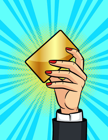 Color vector illustration in pop art style. Female hand holding a golden plastic card. Hand of a business woman with a bank card. Elements for online shopping banner design
