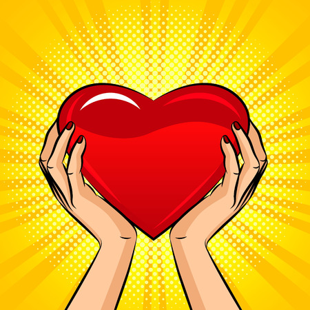 Color vector illustration in pop art style. Female hands hold a big heart. Design for postcard on Valentines day. Big red luminous heart in female hands. Sign of a charity and support