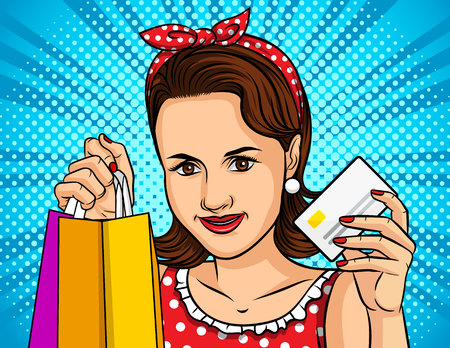 Color vector illustration of a pop art style girl shopping online. A beautiful girl holds a package from the store in one hand and a plastic card in the other. Payment of purchases with a plastic card