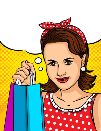 Color vector illustration of pop art style girl holding packages from the store in hand. Poster in vintage style happy girl makes a purchase. Promotions, discounts for women. Иллюстрация
