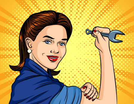 Color vector illustration in pop art style. The girl with a spanner in her hand over halftone background. Poster for the International Labor Day. Beautiful girl in a working form keeps the wrench