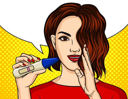 Color vector illustration in pop art style. The girl holds in her hand a positive pregnancy test. Happy girl is preparing to become a mother. The girl reports the result of the pregnancy test