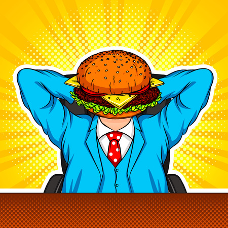 Color vector modern art collage with elements of pop art style. The combination of a burger and an office worker. Conceptual collage in bright colors in the style of the 90s. A man sitts in an office Stockfoto - 126014304