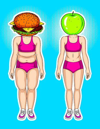 Color vector modern collage with elements of pop art style. Burger against green apple. Conceptual bright poster about losing weight. A woman's transformation from slim to slim. Food and weight loss