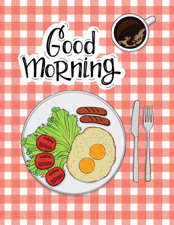 Color vector illustration of omelet with sausages, tomato and coffee. Poster for a cafe or restaurant
