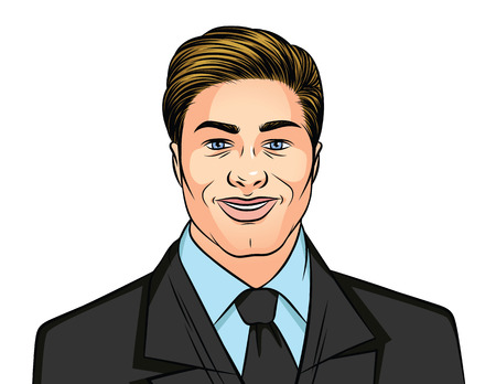 Color vector illustration of a portrait of a man in a business suit on a white background. Successful businessman in a suit with tie. Portrait of a smiling man. Male user avatar