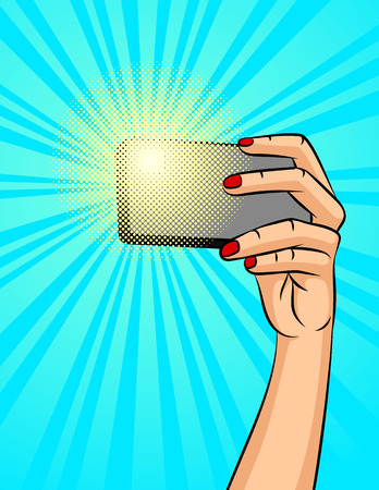Color vector illustration of a female hand with a phone on a background of halftone. A girl makes a selfie. Design a poster about social networks and communicating with the phone.