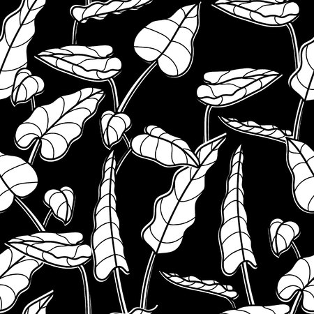 Black white vector graphic design texture of tropical leaves. Seamless pattern of exotic plants. Texture to print. Repeating ornament with leaves of plants Иллюстрация