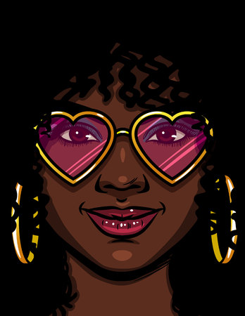 Color vector illustration of an African American girl in pink glasses. Happy girl in love. Face of a beautiful girl with makeup and curly hair. Girl with round gold earrings and glasses shape of heart Ilustração