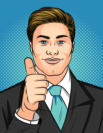Color vector pop art style illustration of a man showing a like sign. Young attractive businessman holds thumb up. Man in business suit shows sign of approval Иллюстрация