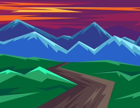 Color vector illustration in flat style. Horizontal landscape with mountain views. Dawn of the sun in the mountains. Silhouettes of mountains against the pink sky