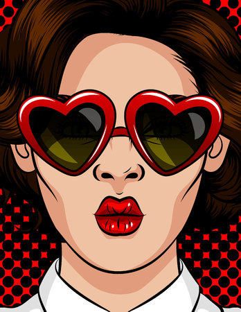 Color vector illustration in pop art style. The girl in sunglasses in the shape of a heart. The girl sends a kiss. Beautiful girl with brunette glasses with a style of 60-80s in a plastic frame Иллюстрация