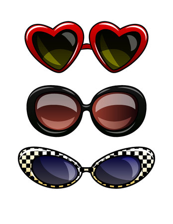 Color vector illustration of glasses in plastic frame. Set of vintage sunglasses with dark lenses. Cat eye glasses, round glasses, glasses in the shape of a heart isolated from the white background