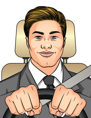 Color vector illustration man driving a car. Businessman traveling to work in the car. A happy man inside the car is wearing a seat belt. Man holds hands on the wheel Иллюстрация