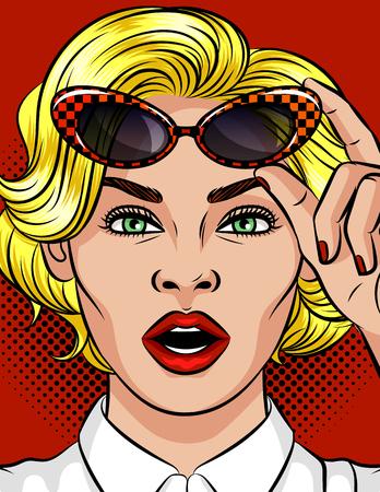 Kleur vectorillustratie van een meisje in haar mond. Mooi meisje met blond haar. Meisje houdt vintage bril. Emotioneel vrouwelijk gezicht. Mooie zakenvrouw