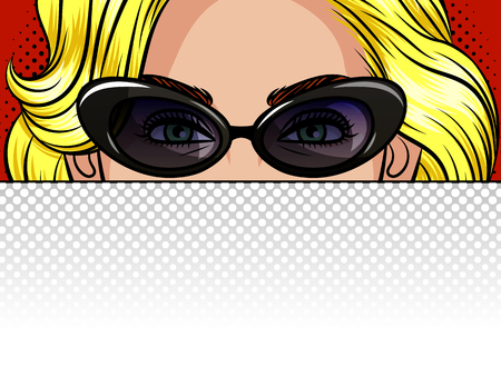 Color vector illustration of the girl behind a white sheet of paper. Poster in the style of pop art beautiful blonde in vintage glasses. Beautiful female face. Empty place for inscriptions, advertising, announcements Иллюстрация